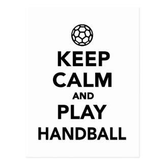Gardez le handball de calme et de jeu carte postale