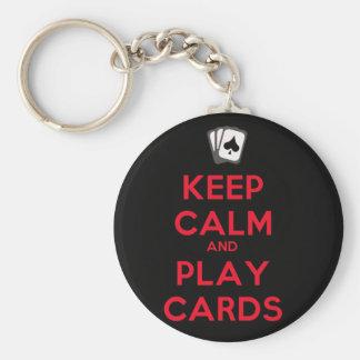 Gardez les cartes de calme et de jeu porte-clé rond