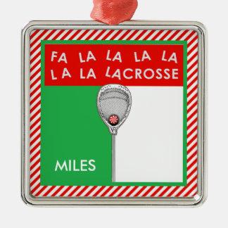 Gardien de but de lacrosse collectable ornement carré argenté