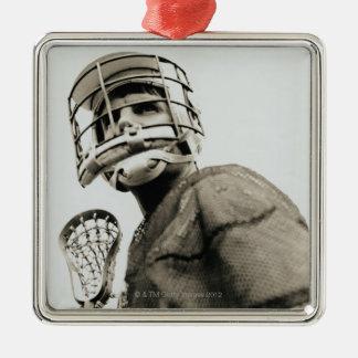 Gardien de but de lacrosse ornement carré argenté