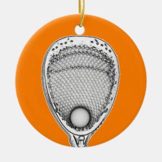 Gardien de but de lacrosse ornement rond en céramique
