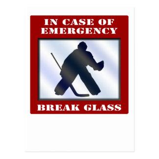Gardien de but d'hockey de secours carte postale