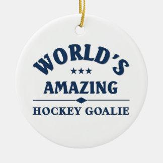 Gardien de but extraordinaire de l'hockey du monde ornement rond en céramique