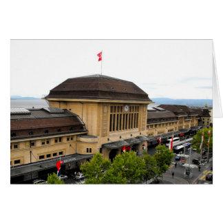 Gare ferroviaire de Lausanne en Suisse Carte De Vœux