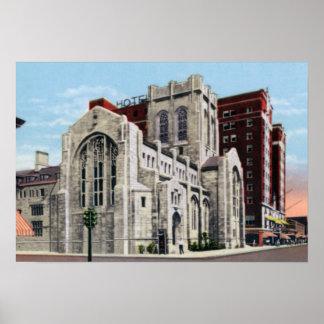 Gary Indiana d'abord J'église et hôtel de Gary Affiches