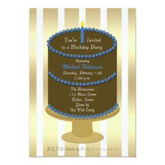 Gâteau adulte de fête d'anniversaire avec l'accent carton d'invitation  12,7 cm x 17,78 cm