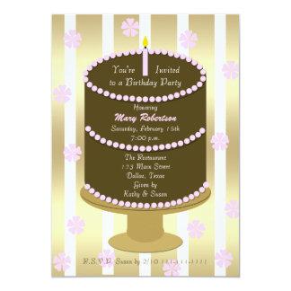 Gâteau adulte de rose de fête d'anniversaire avec carton d'invitation  12,7 cm x 17,78 cm
