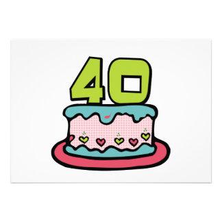 Gâteau d anniversaire de 40 ans invitations