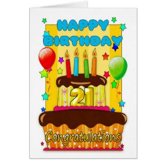 gâteau d'anniversaire avec des bougies - joyeux carte de vœux