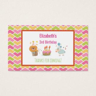 Gâteau d'anniversaire avec tous nos remerciements cartes de visite