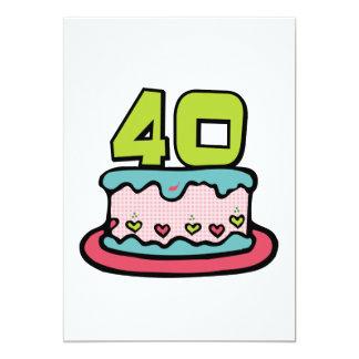 Gâteau d'anniversaire de 40 ans cartons d'invitation