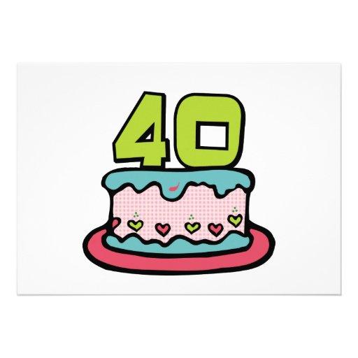 Gâteau d'anniversaire de 40 ans invitations