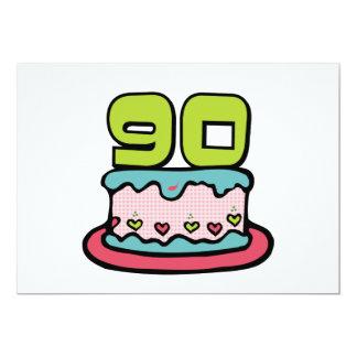 Gâteau d'anniversaire de 90 ans carton d'invitation  12,7 cm x 17,78 cm