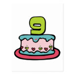 Gâteau d'anniversaire de 9 ans carte postale
