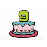 Gâteau d'anniversaire de 9 ans cartes postales