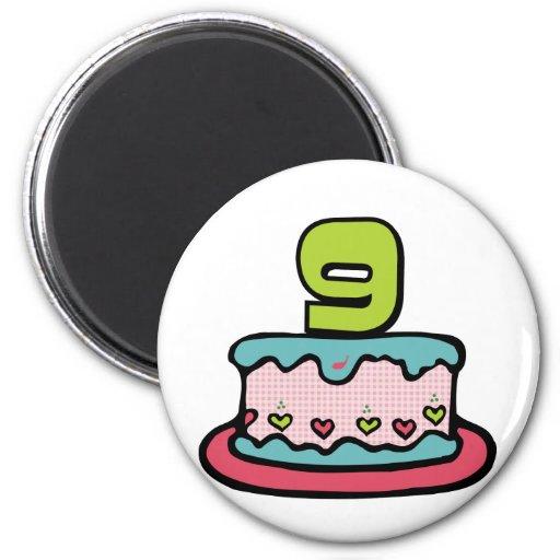 Gâteau d'anniversaire de 9 ans magnets pour réfrigérateur