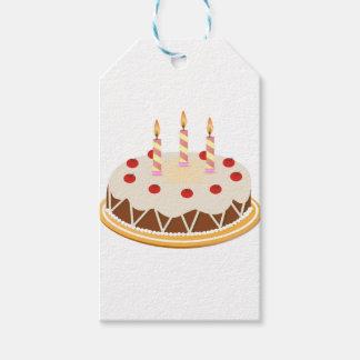 Gâteau d'anniversaire de cerises de chocolat de étiquettes-cadeau