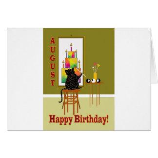 Gâteau d'anniversaire de peinture de chat AOÛT Carte De Vœux