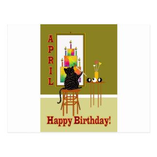 Gâteau d'anniversaire de peinture de chat AVRIL Cartes Postales