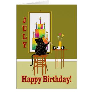 Gâteau d'anniversaire de peinture de chat JUILLET Carte De Vœux