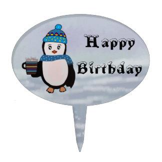 Gâteau d'anniversaire de pingouins Topper Piques À Gâteaux