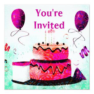 Gâteau d'anniversaire et partie de ballons dans le carton d'invitation  13,33 cm