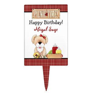 Gâteau d'anniversaire personnalisé de pique-nique  étiquettes à gâteau