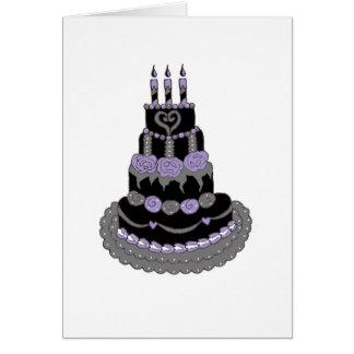 Gâteau d'anniversaire pourpre gothique carte de vœux