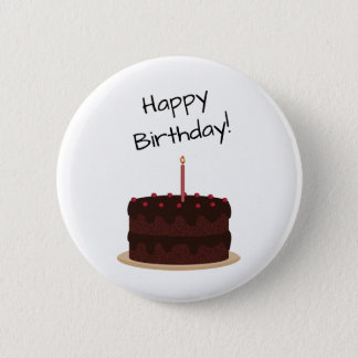 Gâteau de chocolat de joyeux anniversaire badges