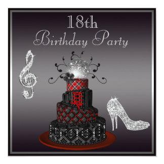 Gâteau de diva de disco, 18ème anniversaire de carton d'invitation  13,33 cm