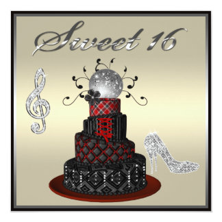 Gâteau de diva de disco du bonbon 16, talons carton d'invitation  13,33 cm
