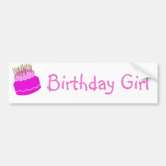 Gâteau de fille d'anniversaire autocollant pour voiture