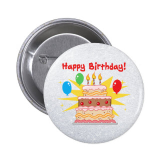 gâteau de joyeux anniversaire avec trois bougies badges