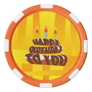 Gâteau de joyeux anniversaire d'illustration avec jetons de poker