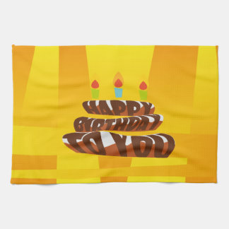 Gâteau de joyeux anniversaire d'illustration avec linge de cuisine