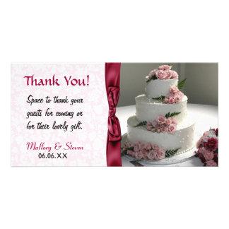 Gâteau de mariage de rose de rose cartes de vœux avec photo