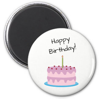 Gâteau de rose de joyeux anniversaire aimant