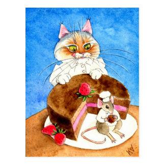 Gâteau de souris de chocolat carte postale
