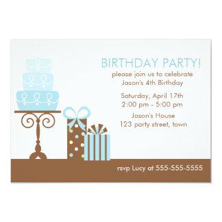 Gâteau et présents bleus carton d'invitation  12,7 cm x 17,78 cm