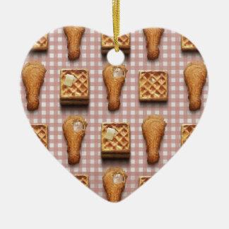 gaufres de poulet de guingan ornement cœur en céramique