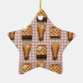 gaufres de poulet de guingan ornement étoile en céramique
