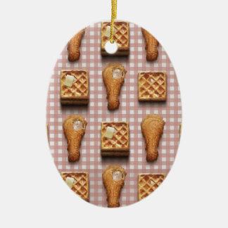 gaufres de poulet de guingan ornement ovale en céramique