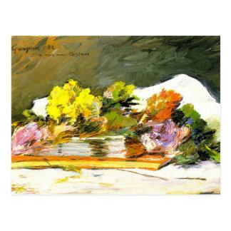 Gauguin - fleurs et livres carte postale