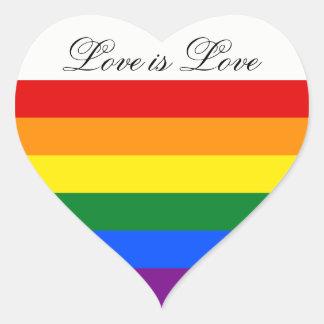 Gay pride de lesbienne du drapeau LGBT Sticker Cœur
