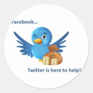 Gazouillement de Facebook… ici pour aider des Sticker Rond