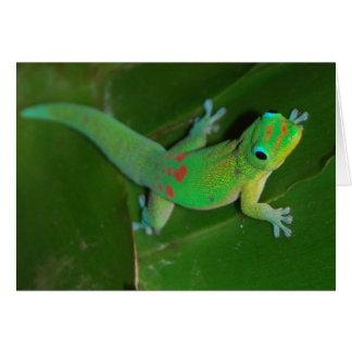Gecko croisant la nuit carte de vœux