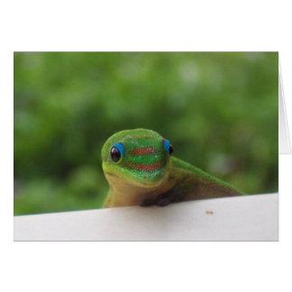Gecko dans le carte pour notes de tropiques
