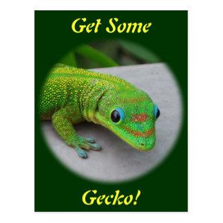 Gecko de jour de la poussière d'or - auditionnez carte postale