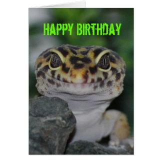 Gecko de léopard de joyeux anniversaire carte de vœux