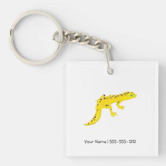 Gecko de léopard porte-clé carré en acrylique une face